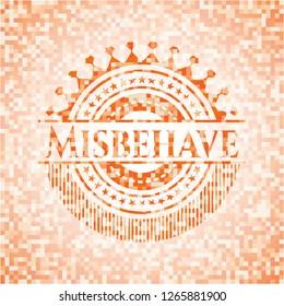 Misbehave abstract emblem, orange mosaic background
