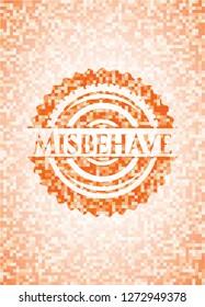 Misbehave abstract orange mosaic emblem