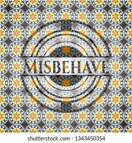 Misbehave arabesque style emblem. arabic decoration.