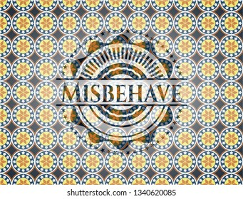 Misbehave arabic badge background. Arabesque decoration.