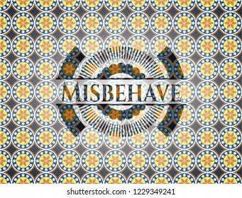Misbehave arabic style emblem. Arabesque decoration.