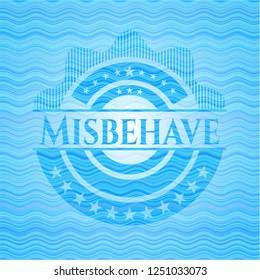 Misbehave light blue water wave emblem.