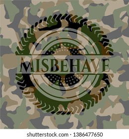 Misbehave on camouflage texture. Vector Illustration. Detailed.
