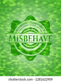 Misbehave realistic green mosaic emblem