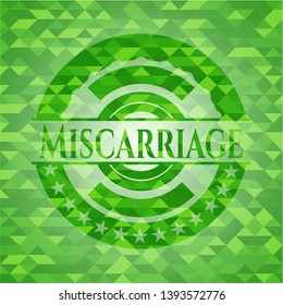 Miscarriage green emblem with mosaic ecological style background. Vector Illustration. Detailed.