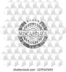 Miscarriage grey emblem. Retro with geometric cube white background
