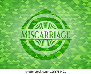 Miscarriage realistic green mosaic emblem