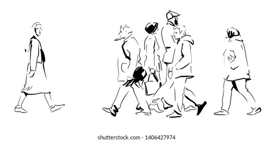 A miscellaneous collection of people. Pedestrians rush on business. Sketch, Vector.