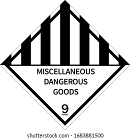 Miscellaneous Dangerous goods sign. Placards class 9. Perfect for transport vehicles, backgrounds, backdrop, sticker, label, sign, symbol and wallpapers.