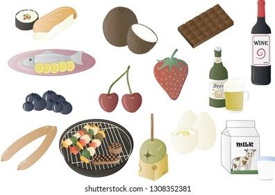 Miscellaneous food vector illustration set