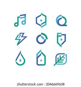 Miscellaneous Green Blue Purple Logo Icon Design - Shutterstock ID 2046669638