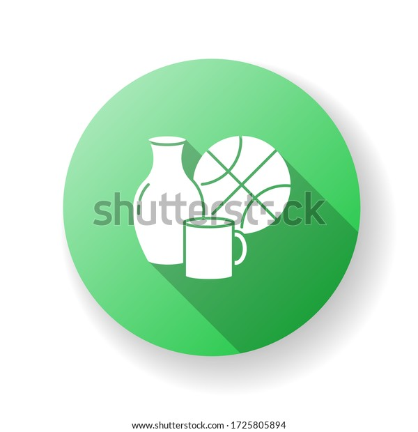 Miscellaneous green flat design long shadow glyph icon. Supermarket items. Grocery store category. Vase bowl. Domestic items. Mug for drinking, cup for household. Silhouette RGB color illustration