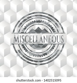 Miscellaneous grey badge with geometric cube white background