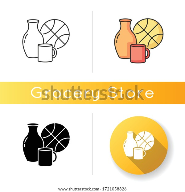 Miscellaneous icon. Supermarket items. Grocery store category. Convenience store section. Mug for drinking, cup for household. Linear black and RGB color styles. Isolated vector illustrations