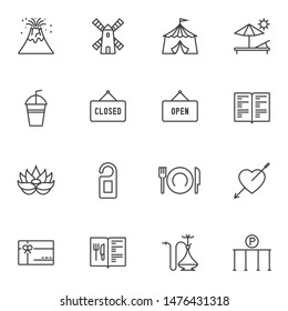 Miscellaneous icons set. linear style symbols collection, outline signs pack. vector graphics. Set includes icons as open and closed lettering, menu book, cutlery, gift card, hotel door hanger, hookah