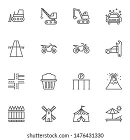Miscellaneous line icons set. linear style symbols collection, outline signs pack. vector graphics. Set includes icons as car washing, motorbike, car repair, excavator truck, motorway, highway road