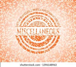 Miscellaneous orange tile background illustration. Square geometric mosaic seamless pattern with emblem inside.