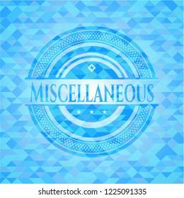 Miscellaneous realistic light blue emblem. Mosaic background