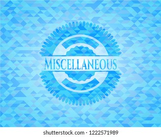 Miscellaneous realistic sky blue emblem. Mosaic background