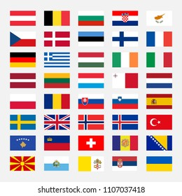 Miscellaneous set of country flags - Europe, with accurate official RGB colors. Vector Illustration.