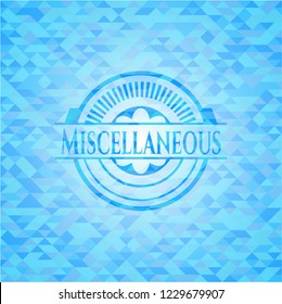 Miscellaneous sky blue emblem with mosaic ecological style background