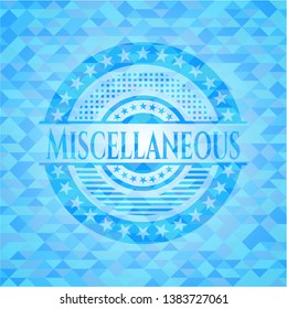Miscellaneous sky blue emblem. Mosaic background