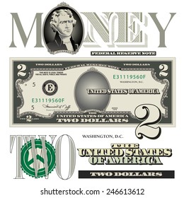 Miscellaneous two dollar bill elements