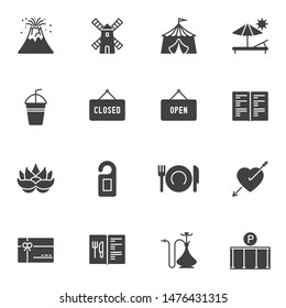 Miscellaneous vector icons set, modern solid symbol collection, filled style pictogram pack. Signs, logo illustration. Set includes icons as open and closed, menu book, gift card, hotel door hanger