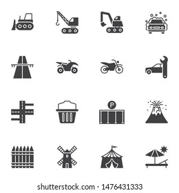 Miscellaneous vector icons set, modern solid symbol collection, filled style pictogram pack. Signs logo illustration. Set includes icons as car washing, motorbike, car repair, excavator truck, parking