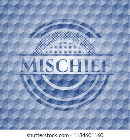 Mischief blue emblem or badge with abstract geometric pattern background.