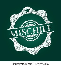 Mischief chalk emblem. Vector Illustration. Detailed.