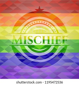 Mischief emblem on mosaic background with the colors of the LGBT flag
