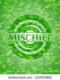 Mischief green emblem with triangle mosaic background
