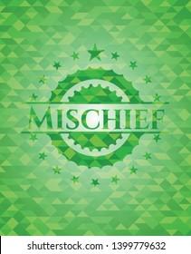 Mischief green mosaic emblem. Vector Illustration. Detailed.