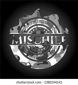 Mischief grey camouflaged emblem