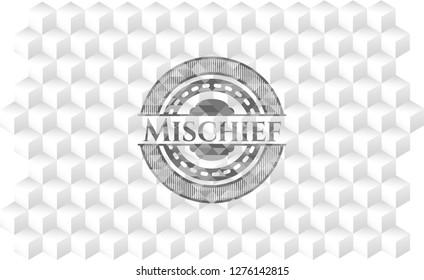Mischief grey emblem. Vintage with geometric cube white background