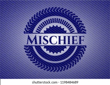 Mischief jean or denim emblem or badge background