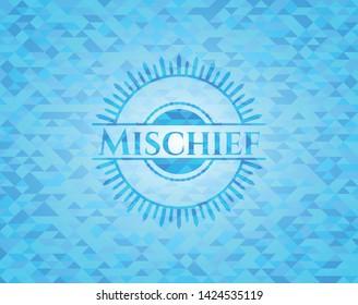 Mischief light blue emblem. Mosaic background