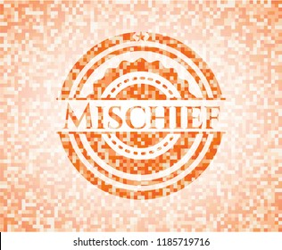Mischief orange tile background illustration. Square geometric mosaic seamless pattern with emblem inside.