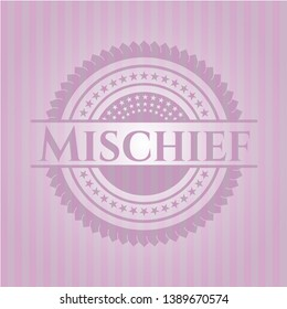 Mischief pink emblem. Vector Illustration. Detailed.