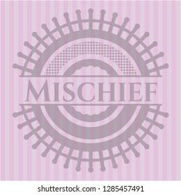 Mischief pink emblem. Vintage.