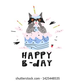 A mischief racoon eating the birthday cake. Happy b-day greeting card with racoon covered with cake pieces and candles. Black and white cartoon lettering phrase. Funny print for a postcard or t-shirt.