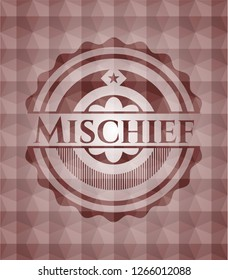 Mischief red emblem or badge with abstract geometric polygonal pattern background. Seamless.