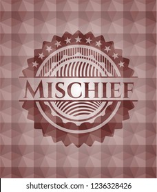 Mischief red seamless emblem or badge with abstract geometric pattern background.