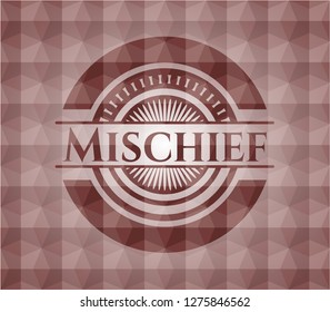Mischief red seamless geometric badge.