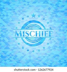Mischief sky blue emblem. Mosaic background