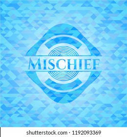 Mischief sky blue emblem with triangle mosaic background