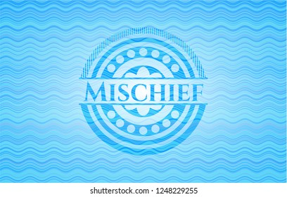 Mischief water wave concept badge background.