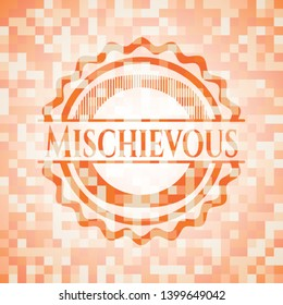 Mischievous abstract orange mosaic emblem with background