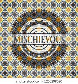 Mischievous arabic badge background. Arabesque decoration.